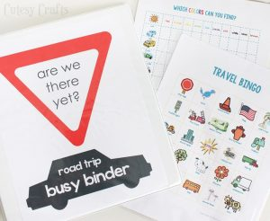 Busy binder printables for road trip