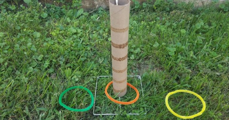 Homemade Ring Toss Game That Is Safe To Play Indoors