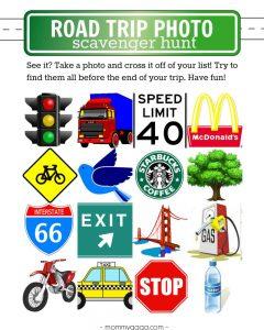 Printable game road trip scavenger hunt