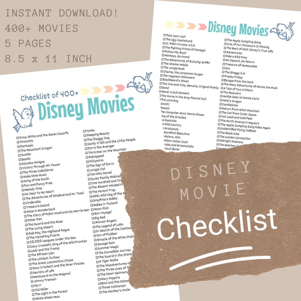 Disney Movie Lists (Bird Design)