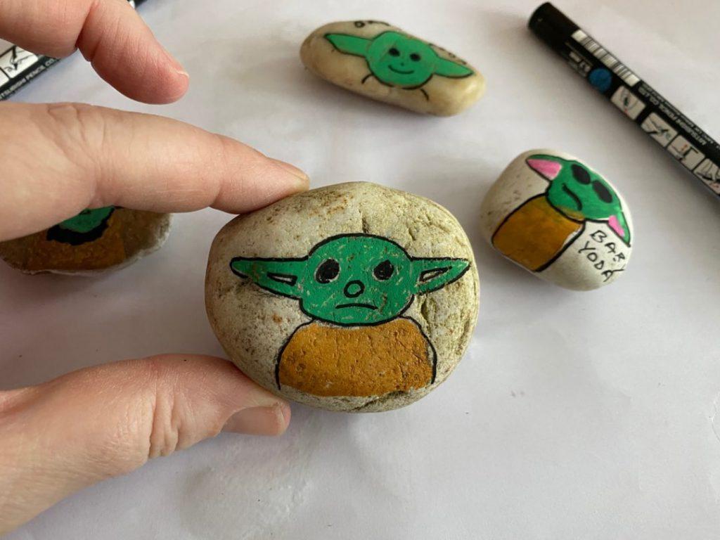 Baby Yoda painted rocks