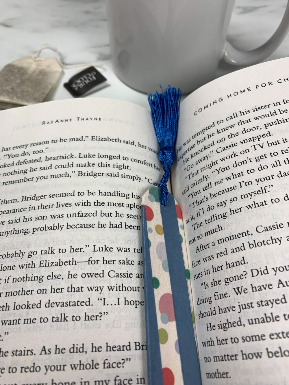 DIY Bookmark laying on book