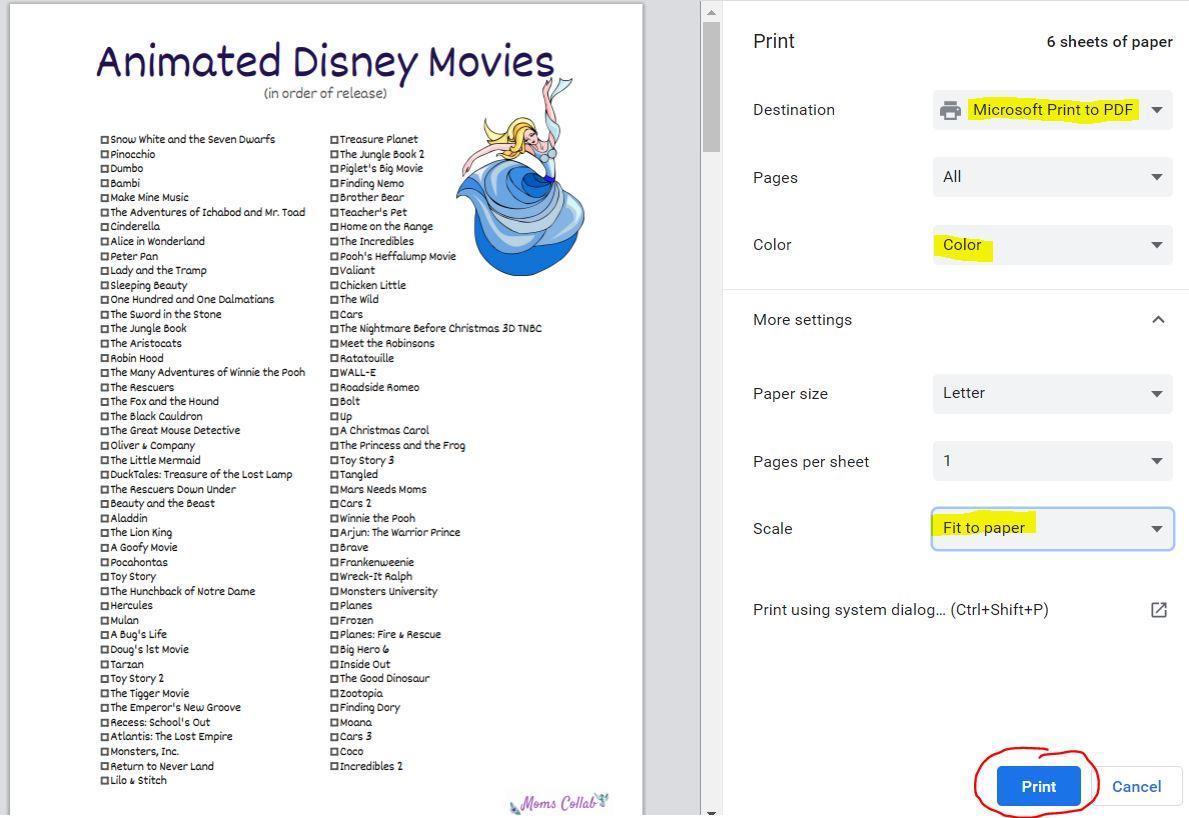 Print Disney Checklist