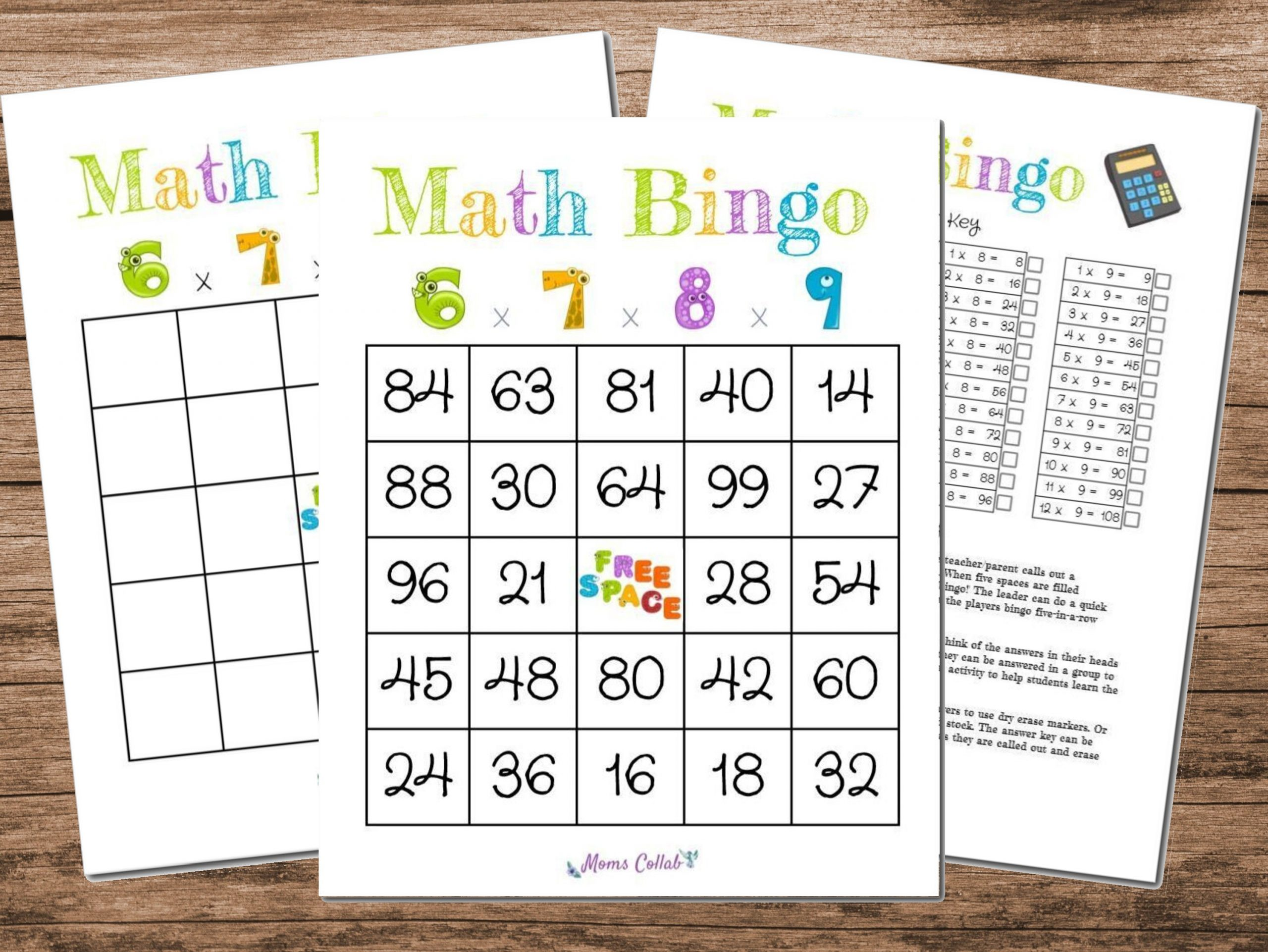 Math Bingo Game Multiplication 6x7x8x9