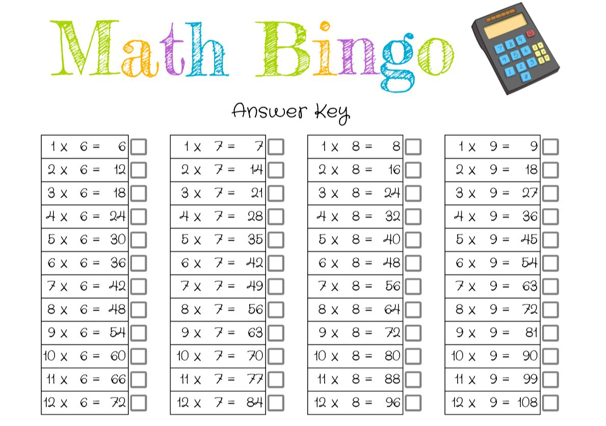 Math bingo answer key screenshot