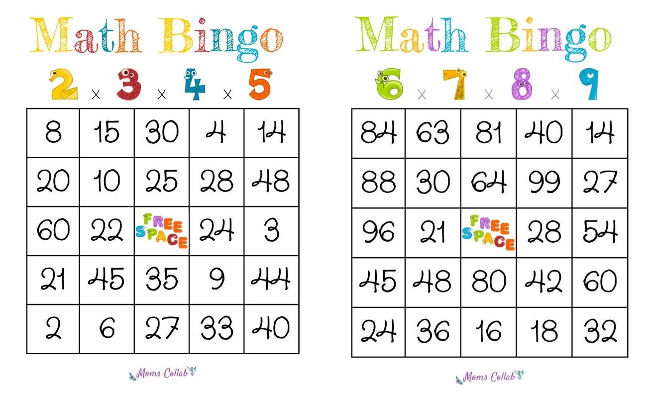 Math bingo sheet examples