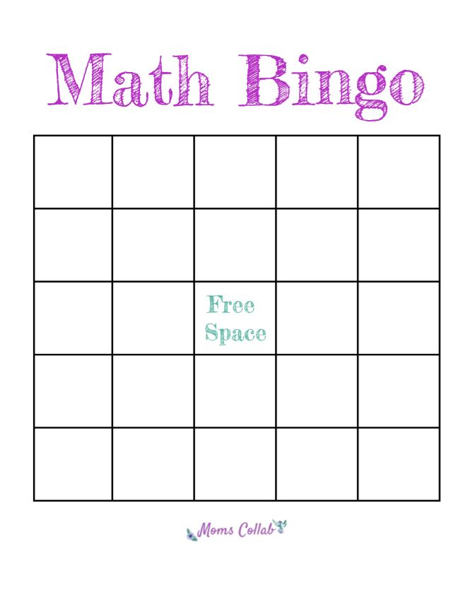 blank math bingo template