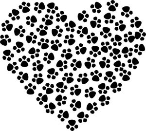 heart cat paw prints