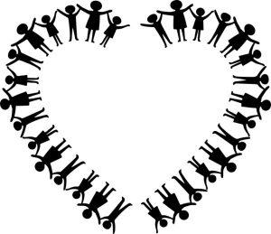 heart family holding hands