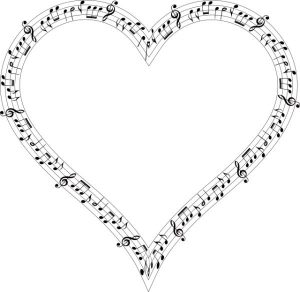 heart musical notes outline