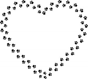 heart paw prints outline