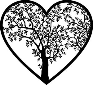 heart tree branches leaves