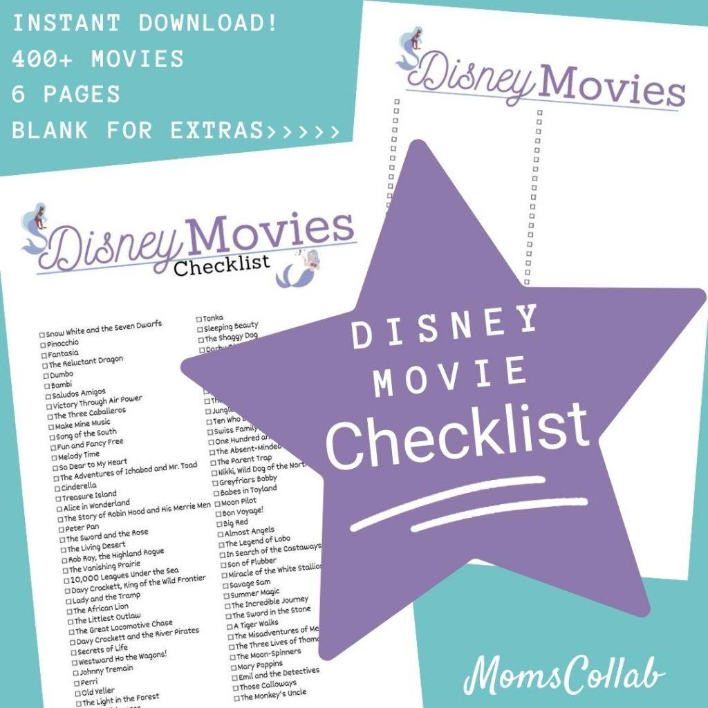 Disney Movie List Mermaid Design